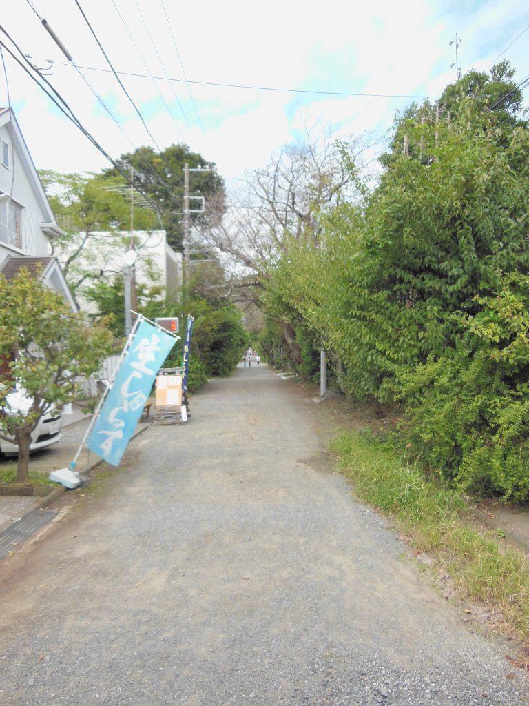 民家やレストランの並ぶ荏柄天神社の参道