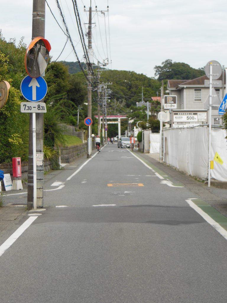 荏柄天神社から鎌倉宮への道路