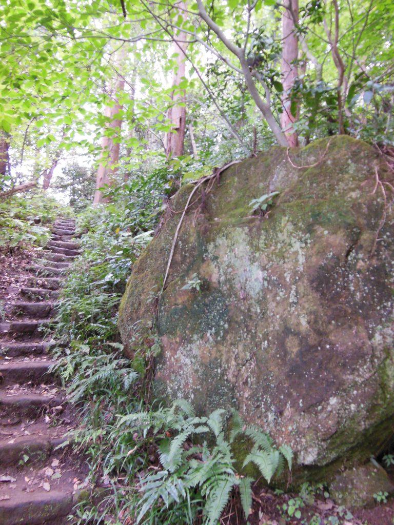登山道途中にある大きな岩