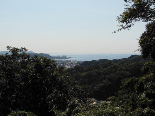 ハイキングコースの途中から見える逗子方面の海