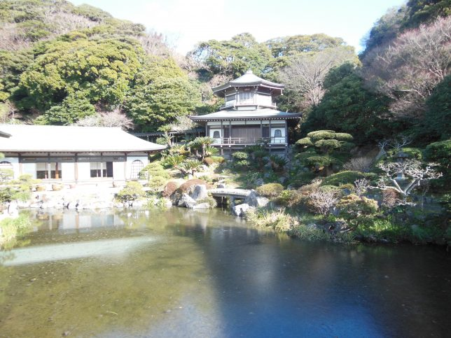 光明寺の蓮池と大聖閣