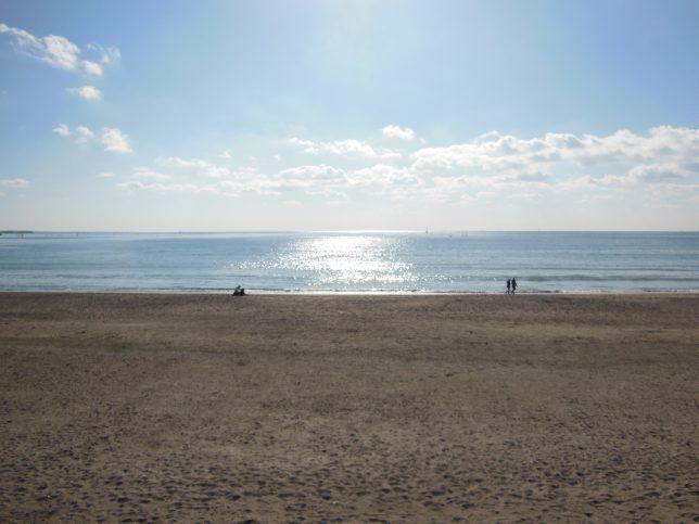 冬の陽光きらめく由比ガ浜