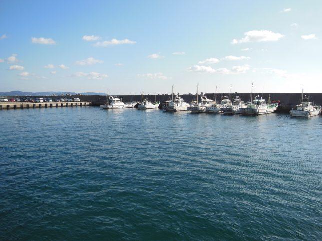 腰越漁港に係留中の漁船