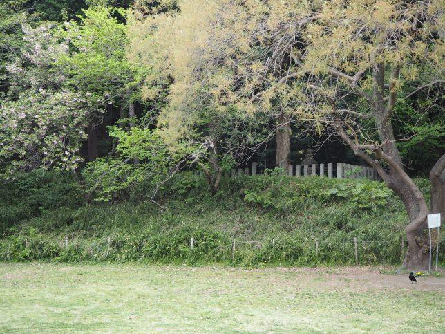 庭園脇の広場の奥にある北条顕時・金沢貞顕の墓
