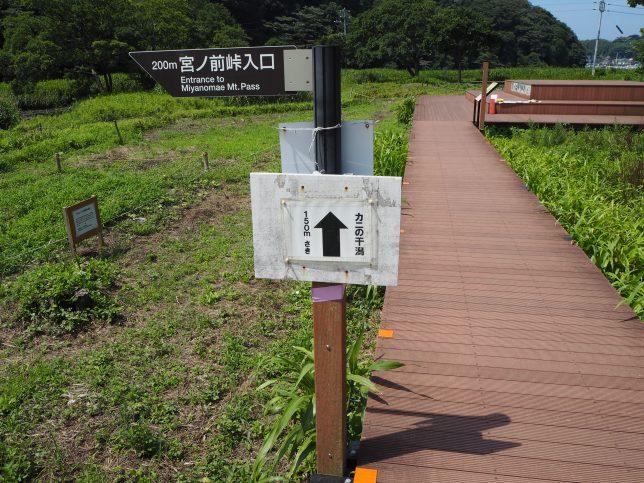 カニの干潟への標識